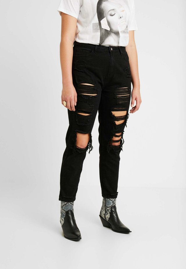 RIOT DISTRESSED - Džíny Relaxed Fit - washed black