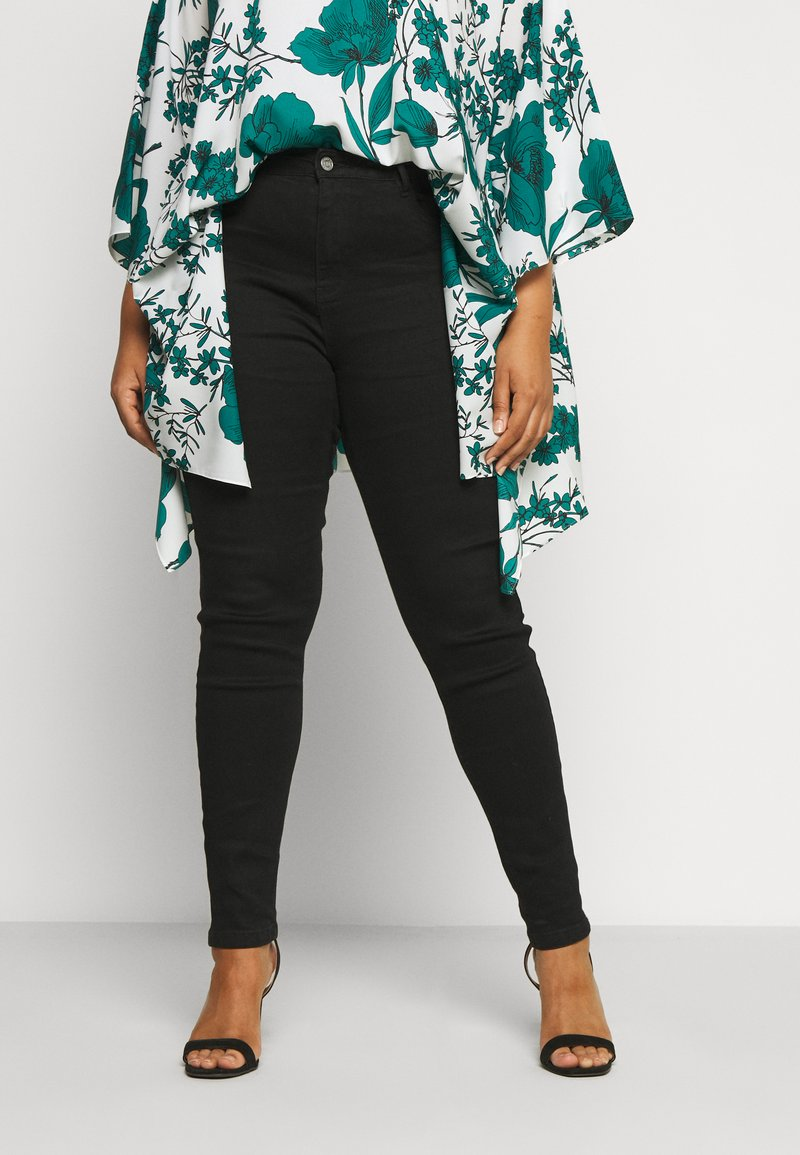 Missguided Plus - PLUS HIGH WAISTED BACK SEAM DETAIL - Jeans Skinny Fit - black