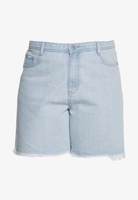 Missguided Plus - FRAYED LONG LINE  - Short en jean - stonewash - 3