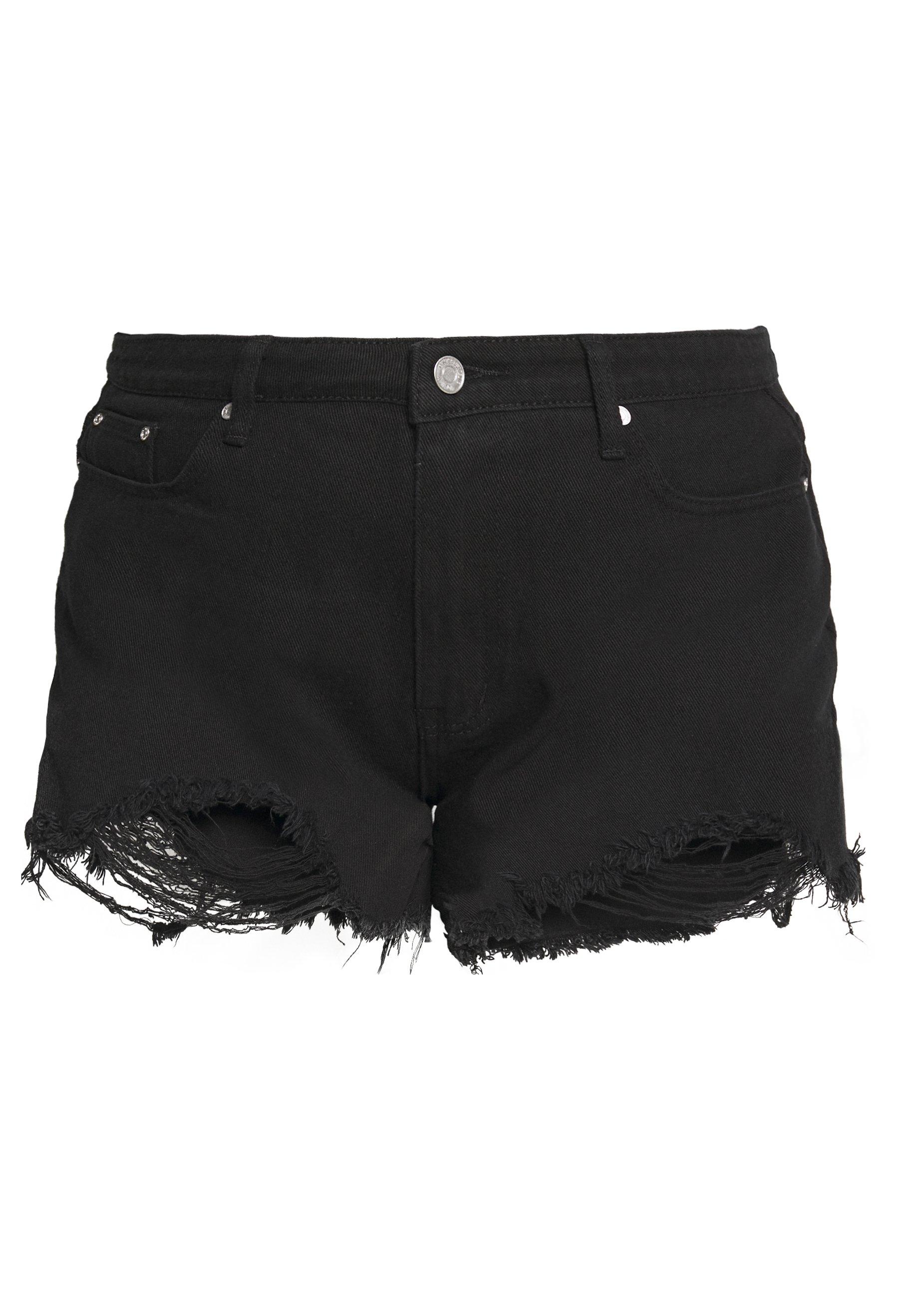 Missguided Plus EXTREME FRAY HEM RIOT - Szorty jeansowe - black