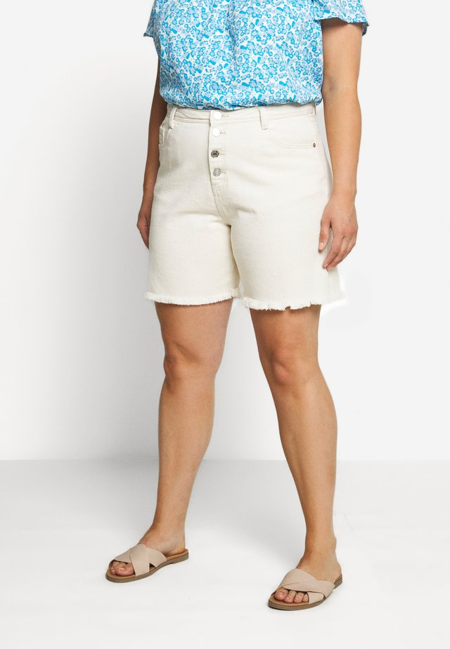 FRAYED HEM LONG LINE BUTTON FRONT DENIM SHORTS - Denim shorts - sand
