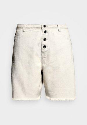 FRAYED HEM LONG LINE BUTTON FRONT DENIM SHORTS - Denim shorts - sand