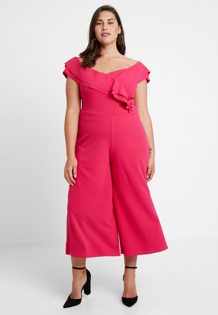 Missguided Plus - BARDOT FRILL FRONT - Jumpsuit - pink