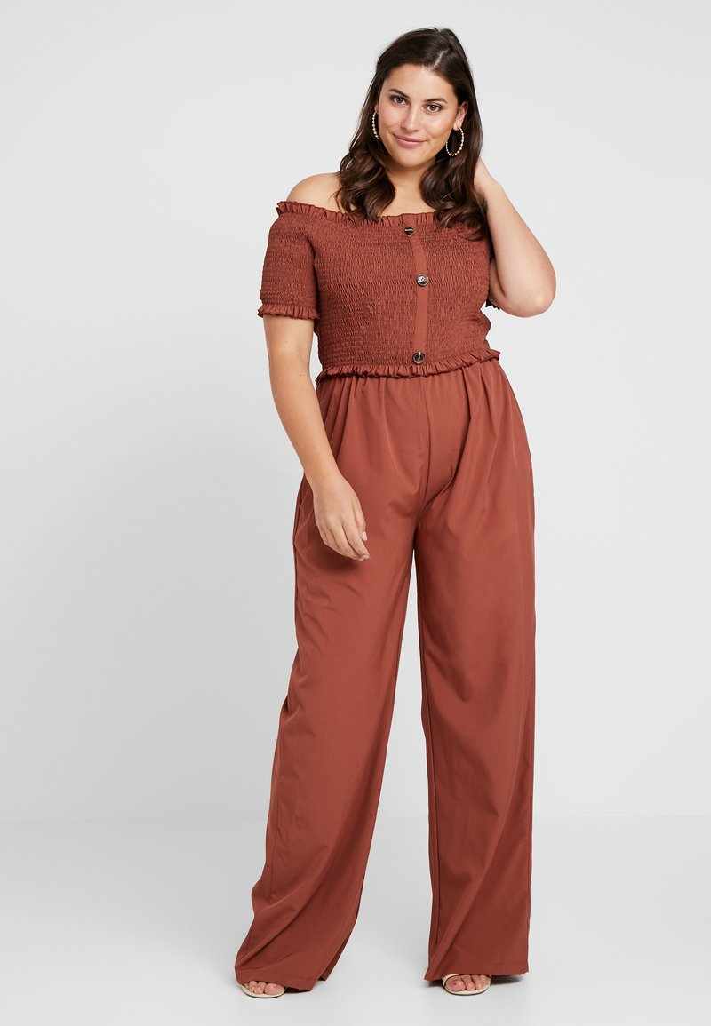 Missguided Plus - SHIRRED HORN BUTTON BARDOT - Jumpsuit - brown