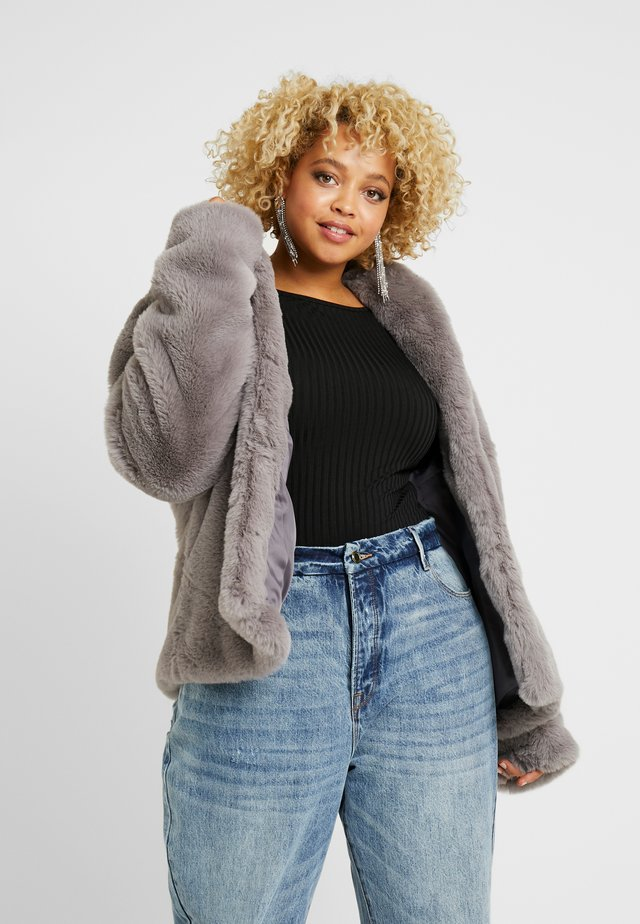 SHAWL COLLAR FAUX FUR COAT - Winterjacke - grey