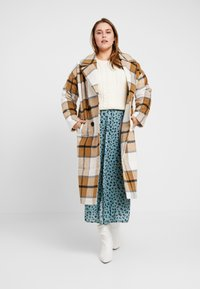 Missguided Plus - MUSTARD CHECK COCOON COAT - Mantel - brown - 1