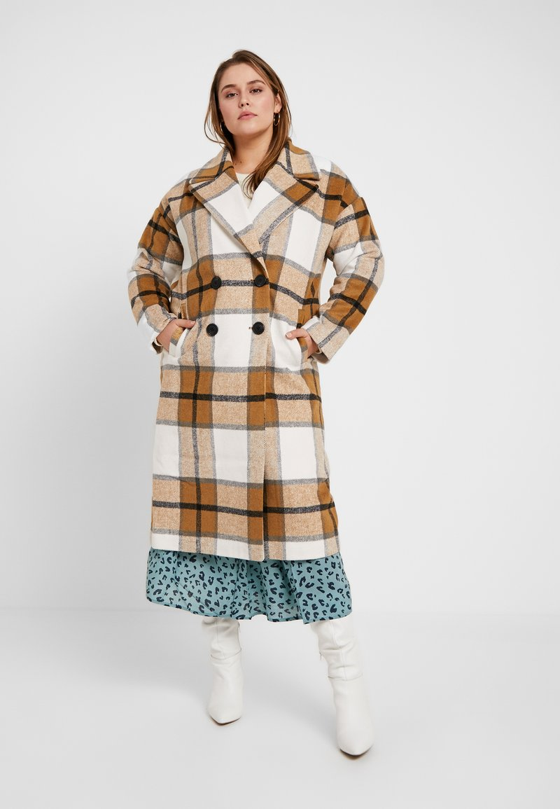 Missguided Plus - MUSTARD CHECK COCOON COAT - Mantel - brown