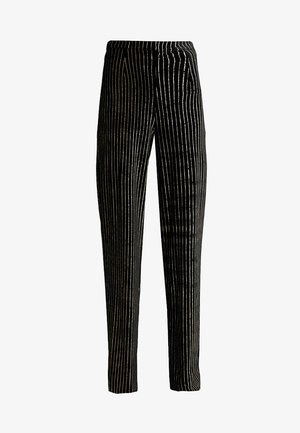 GLITTER STRIPE TROUSERS - Kangashousut - black