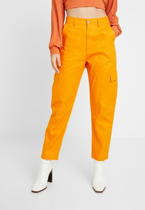 HIGH WAISTED CARGO TROUSERS WITH SIDE POCKETS - Trousers - Orange