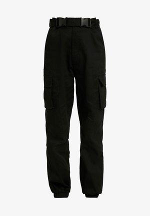 DOUBLE BUCKLE DETAIL CARGO TROUSER - Tygbyxor - black