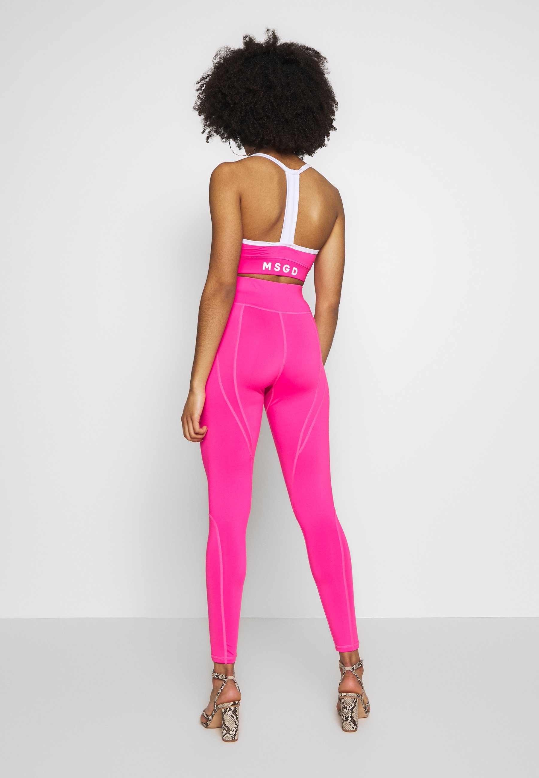 Missguided Petite ACTIVE LOGO PANELLED LEGGINGS AND CROP SET ACTIVEWEAR - Legginsy - pink