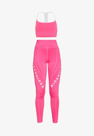 ACTIVE LOGO PANELLED LEGGINGS AND CROP SET ACTIVEWEAR - Leggings - pink