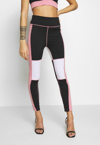 Missguided Petite - BLOCK RACER BACK CROP ACTIVEWEAR - Legging - black - 2