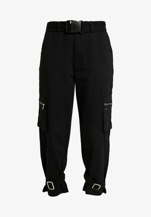 UTILITY POCKET BUCKLE TROUSERS - Kalhoty - black