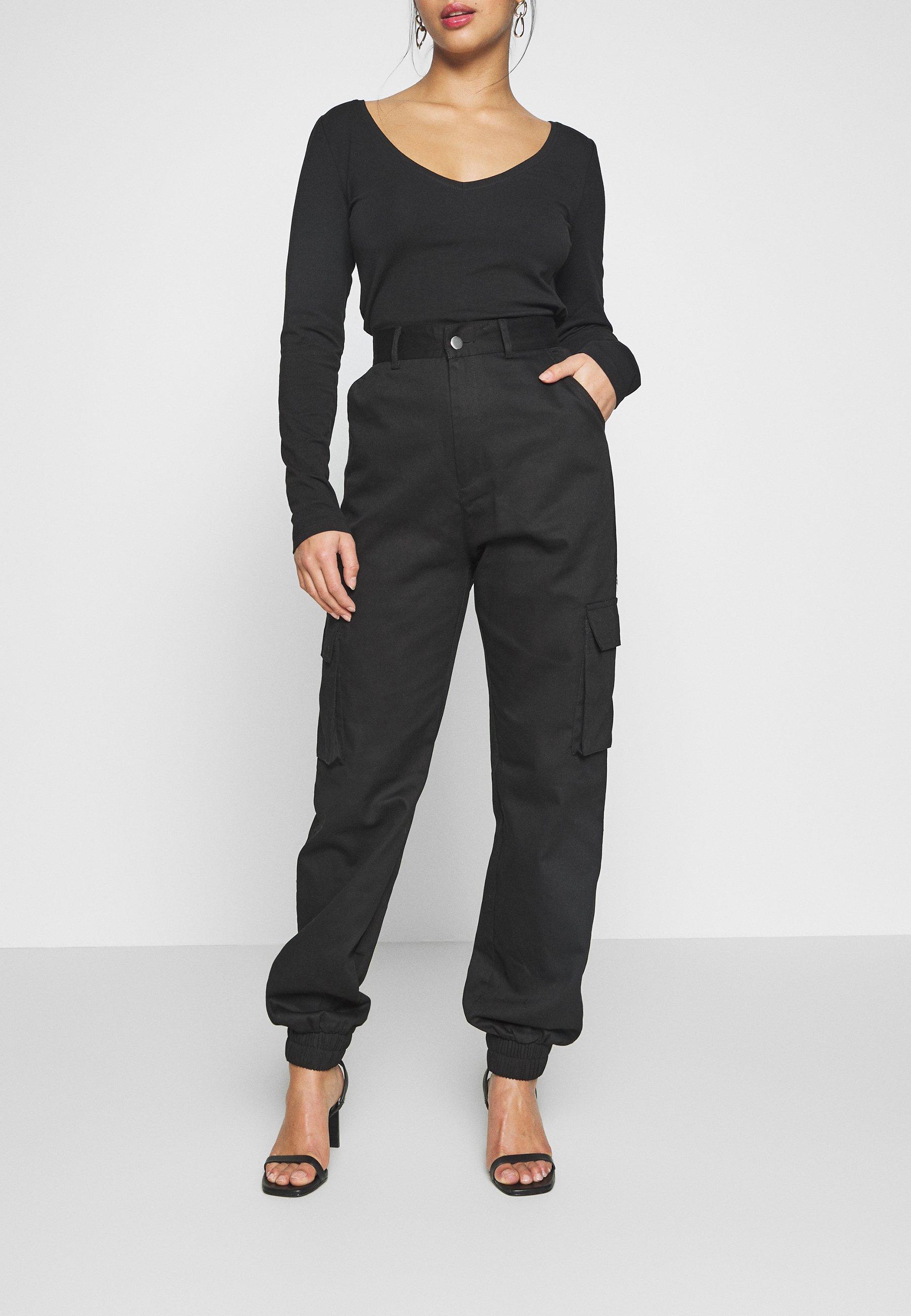 Missguided Petite PLAIN CARGO TROUSER - Spodnie materiałowe - black