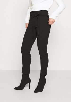 TIE BELTED CIGARETTE TROUSERS - Pantalones - black