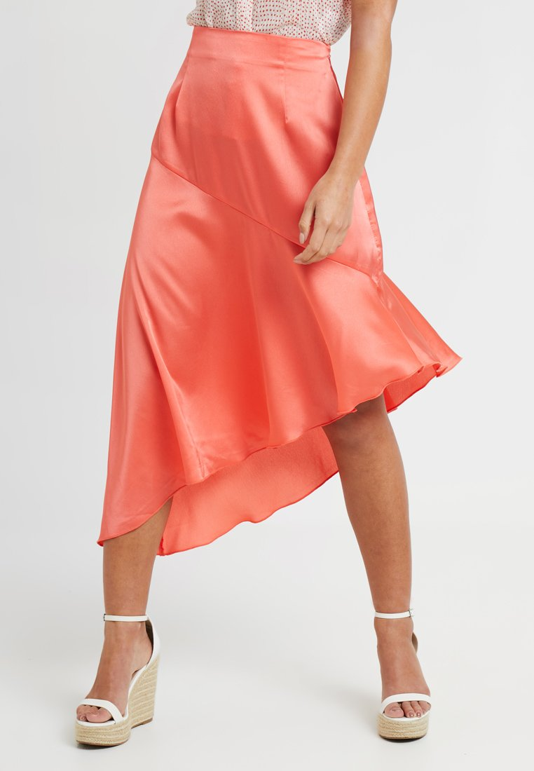 Missguided Petite - ASYMMETRIC SKIRT - A-Linien-Rock - coral