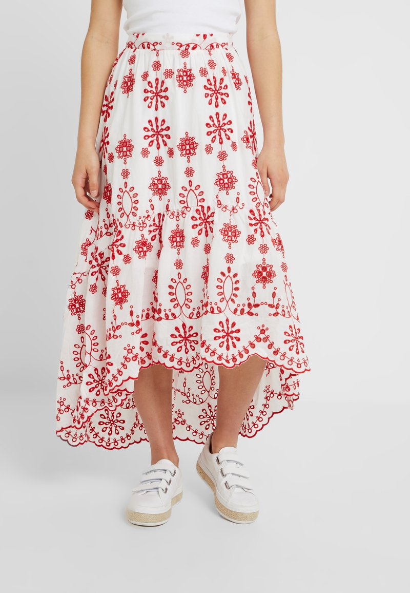 Missguided Petite - BRODERIE ANGLAIS HIGH LOW SKIRT - Maxi skirt - white