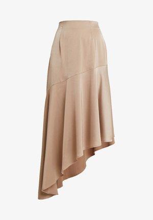 SIDE ASYMETRIC SKIRT - Maxi sukně - mink