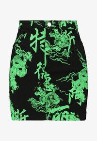 Missguided Petite - DRAGON PRINT SKIRT - Minijupe - neon green - 3