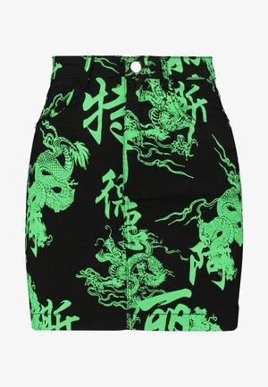 DRAGON PRINT SKIRT - Minisukně - neon green