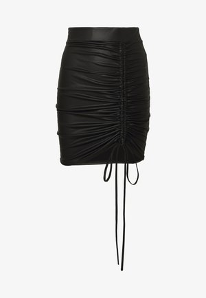 RUCHED SIDE PUMINI SKIRT - Minifalda - black