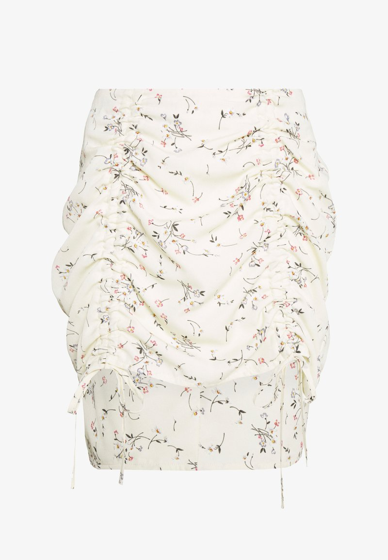 Missguided Petite - DITSY FLORAL RUCHED MINI SKIRT - Mini skirt - cream