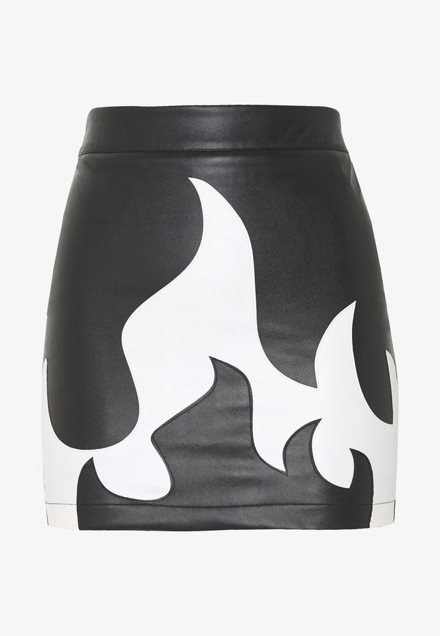 RAVE AND MISSBEHAVE FAUX FLAME SKIRT - Minijupe - black