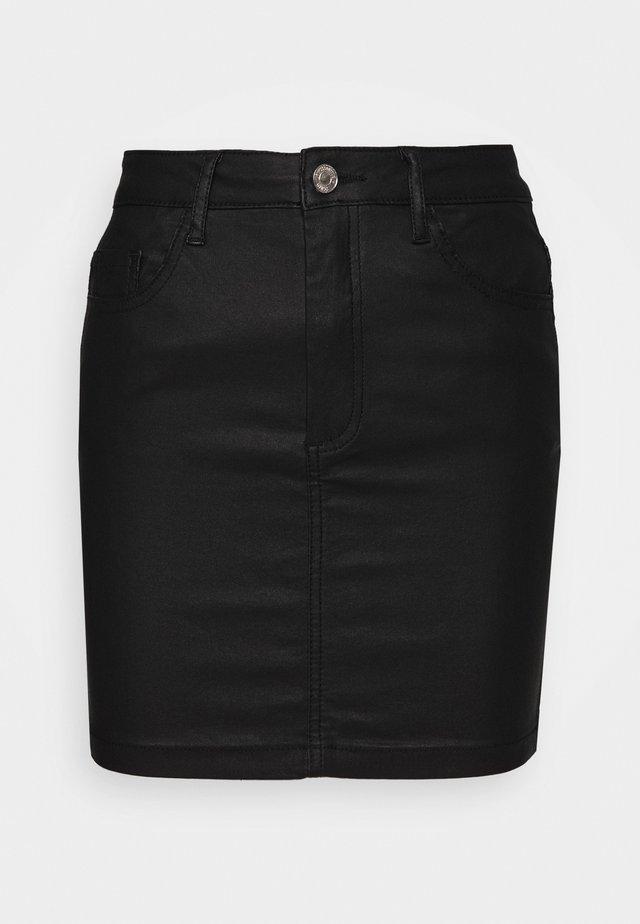 COATED MINI SKIRT - Minihame - black