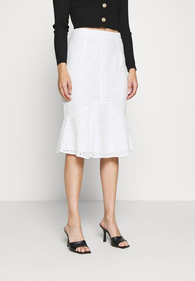 BRODERIE FRILL MIDI SKIRT - A-line skirt - white