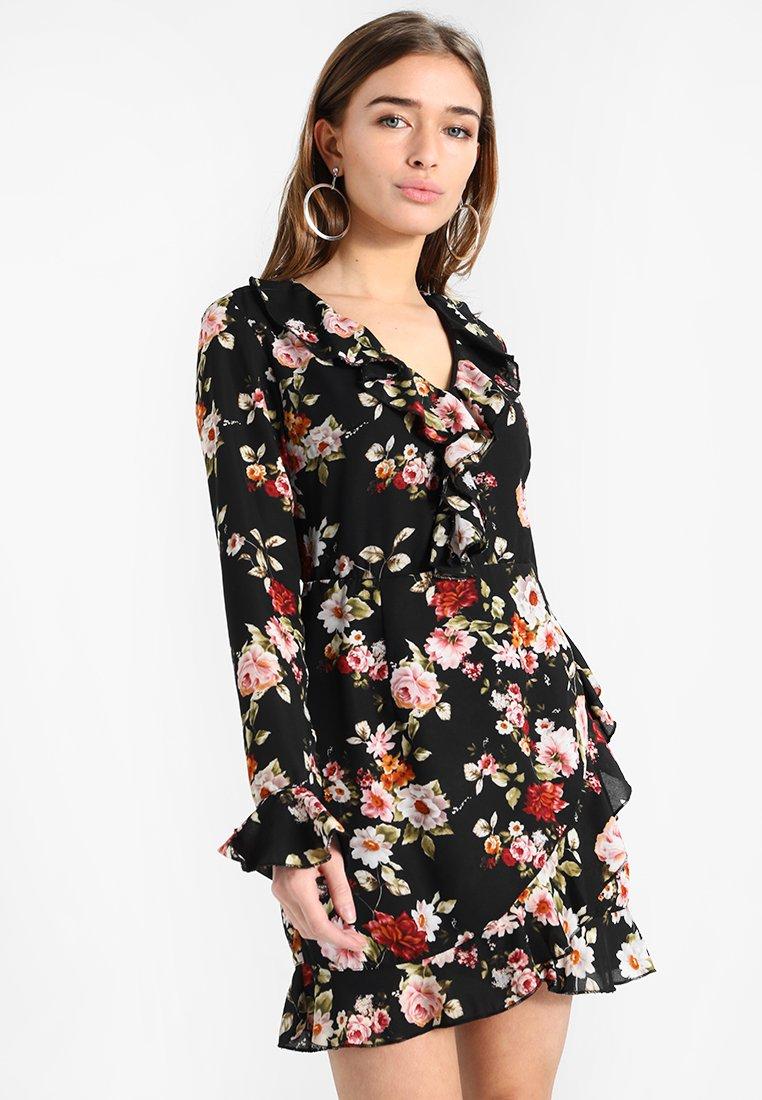 Missguided Petite - FLORAL PRINT FRILL DETAIL TEA DRESS - Day dress - black