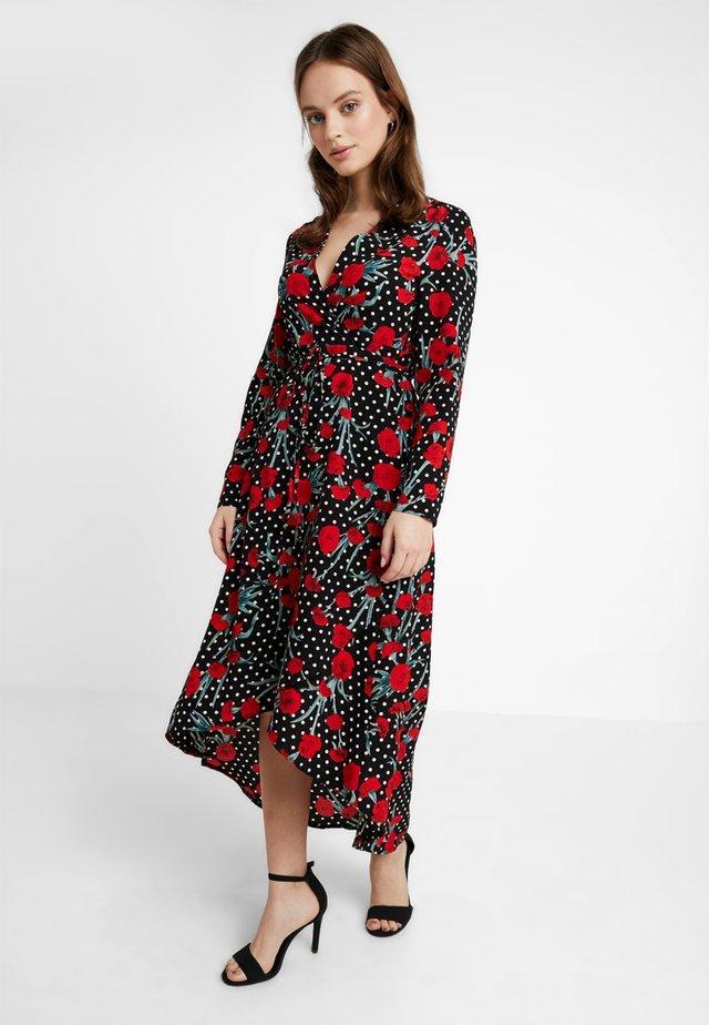 POLKA DOT PRINT HIGH LOW WRAP FRONT DRESS - Maxi šaty - black
