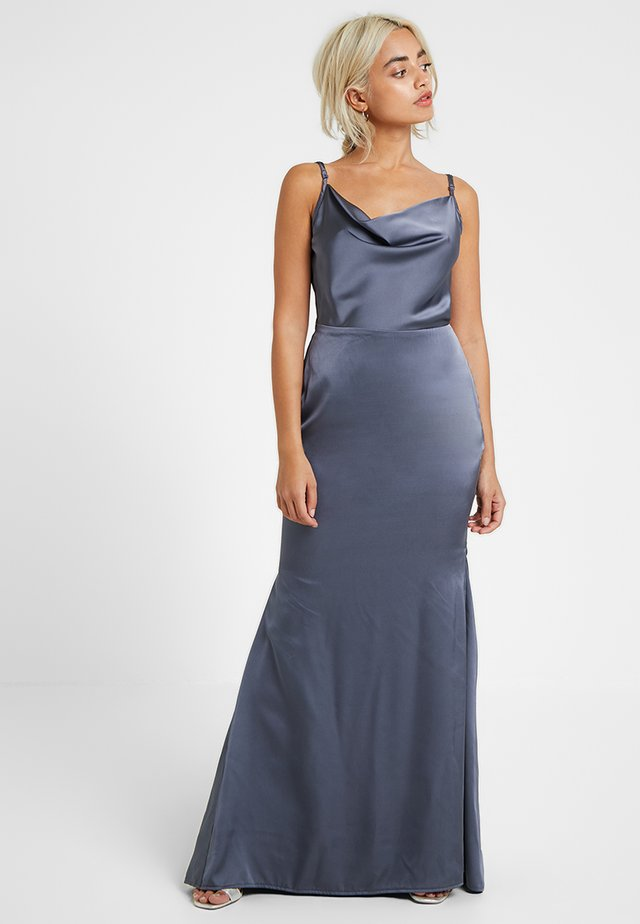 COWL NECK DRESS WITH TRAIN - Ballkleid - slate blue