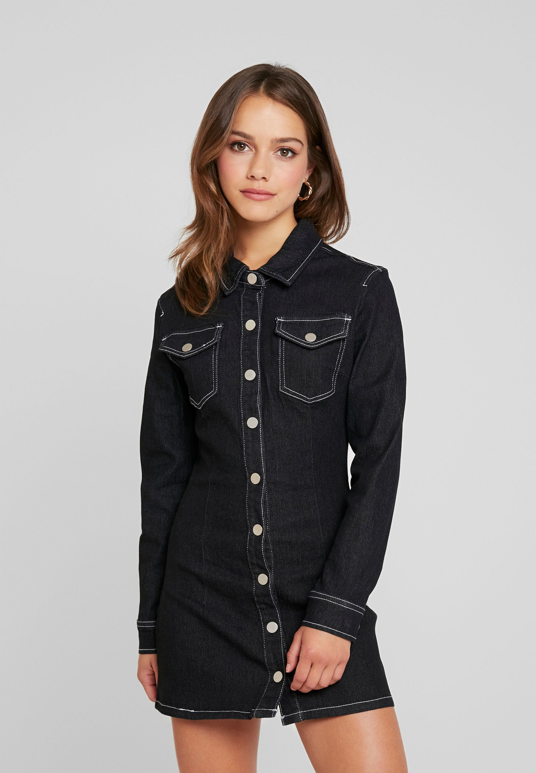 Button Petite Missguided Sleeve Fitted Long Jersey Black Through DressRobe En 54qRjLA3
