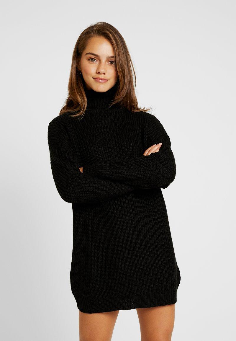 Missguided Petite - ROLL NECK BASIC DRESS - Strickkleid - black