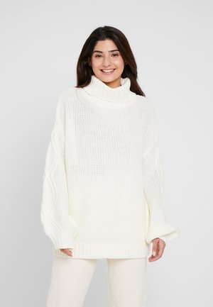 CABLE SLEEVE ROLL NECK JUMPER - Pullover - cream