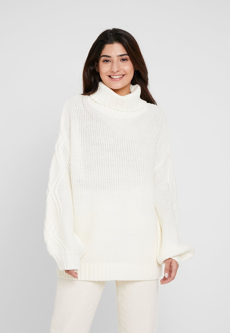Missguided Petite - CABLE SLEEVE ROLL NECK JUMPER - Strickpullover - cream
