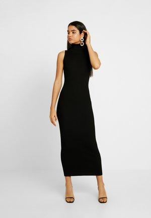 ROLL NECK SLEEVELESS DRESS - Abito in maglia - black
