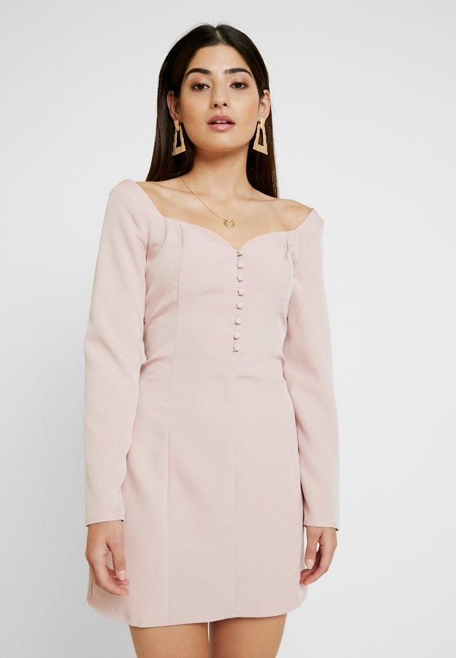 SWEETHEART NECKLINE BUTTON MINI DRESS - Blusenkleid - dusky pink