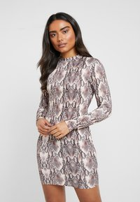 Missguided Petite - HIGH NECK LONG SLEEVE  - Vestido ligero - black - 0