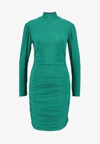Missguided Petite - TEXTURED HIGH NECK RUCHED MINI DRESS - Robe fourreau - emerald - 5
