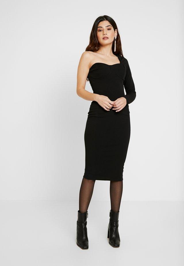 ONE SHOULDER STRUCTURED BODYCON MIDI DRESS - Cocktailkleid/festliches Kleid - black