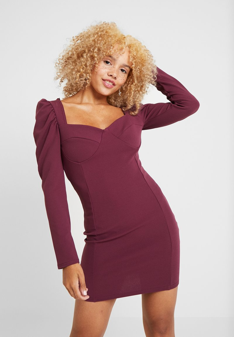 Missguided Petite - PUFF SLEEVED PANELLED MINI DRESS - Day dress - burgundy