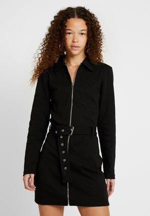 ZIP FRONT MINI DRESS - Vestido de punto - black