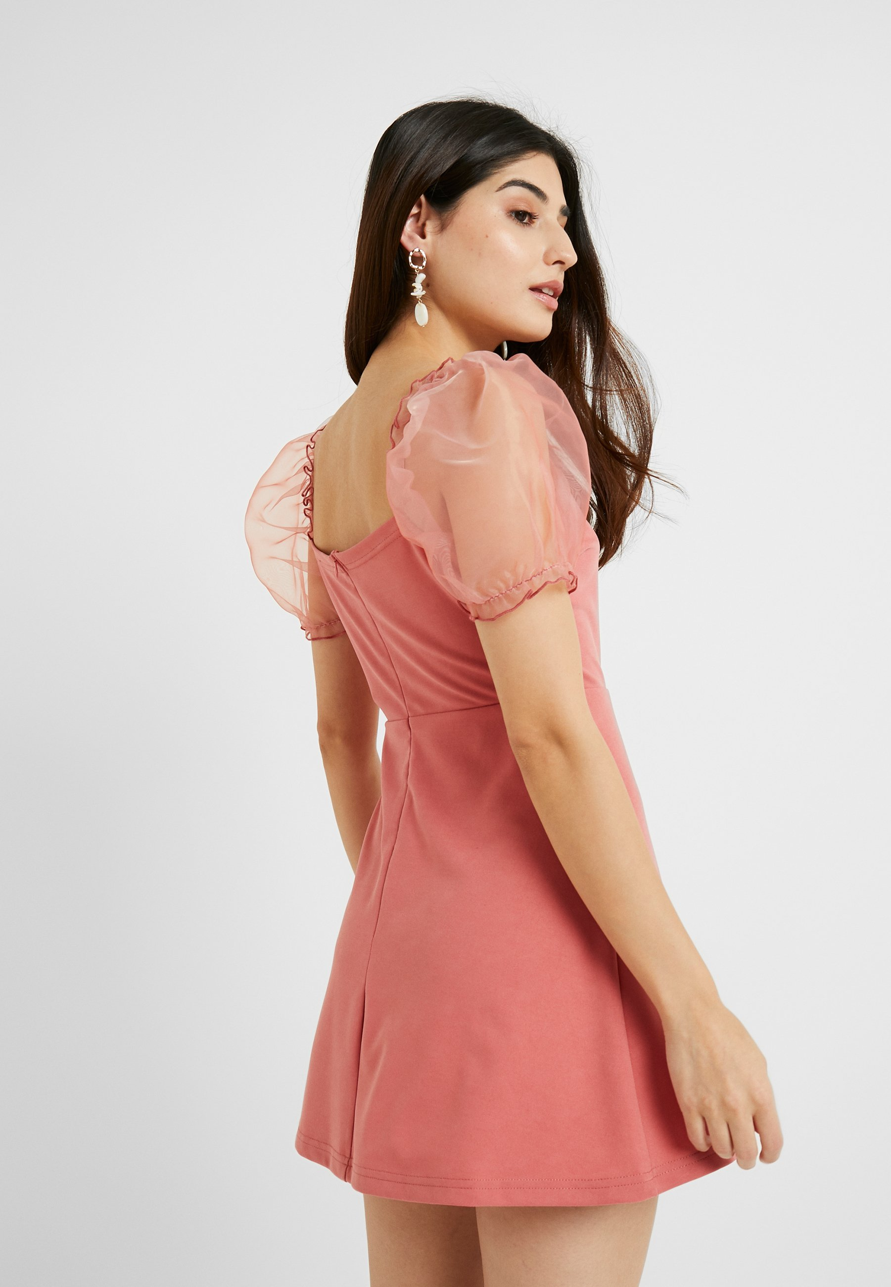 Missguided Petite Puff Sleeve Skater Dress - Cocktailjurk Blush bHDhJVNn