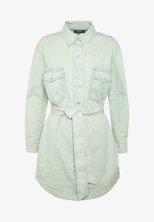 BELTED OVERSIZED DRESS - Denim dress - sage