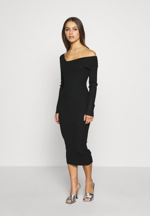 ONE SHOULDER BARDOT MIDI DRESS - Pletené šaty - black