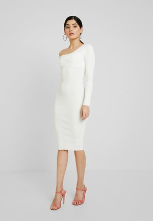 ONE SHOULDER BARDOT MIDI DRESS - Denní šaty - white