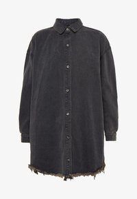 Missguided Petite - OVERSIZED SHIRT DRESS - Denim dress - black - 4