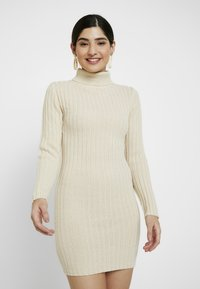 Missguided Petite - ROLL NECK JUMPER DRESS - Gebreide jurk - stone - 0
